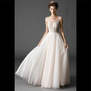 Watters kaliah tulle beaded gown